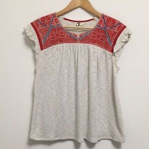 Anthropologie red, blue and cream top
